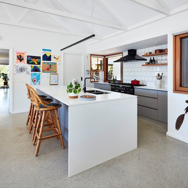 This contemporary functional kitchen is the heart of the home.  Photograph: @rhiannonslatter  #sustainable #modular #prefab #offsite #architecture #australianarchitecture  #makeitwood #timber #fairweatherhomes #fairweather #homes #newhomes #instahome #modularhomes #sustainablehomes #archilovers #prefabricated #homedesign #kitchen #precision #manufacturing #instagood #photooftheday #houses #melbournearchitecture  Copyright Fairweather Homes
