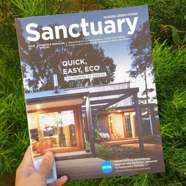"We're delighted to have our Somers home featured as cover story in the latest issue of @sanctuarymag (Issue 53). This north-facing three-bedroom family home was designed for energy efficiency and connection to the outdoors.   ""The solar gain through the day means it can get as warm as 25 degrees Celsius inside, and we don't need any heating at night. In summer, cross flow ventilation really helps keep the house cool during the day.house cools down beautifully at night; we don't even need a fan in the main bedroom."" Fairweather Homes clients, Zoe and Dean.  Design: @fairweatherhomes Photographer: @rhiannonslatter   #sustainable #modular #prefab #offsite #architecture #australianarchitecture #makeitwood #timber #fairweatherhomes #fairweather #homes #newhomes #instahome #modularhomes #sustainablehomes #archilovers #prefabricated #homedesign #instagood #photooftheday #houses #morningtonpeninsula #melbournearchitecture #recycled #sanctuarymagazine"